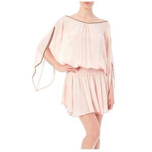 Z&L Grecian Smock Dress Blush Pink Slit Sleeves OS